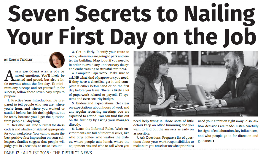 Seven Secrets to Nailing Your First Day on the Job